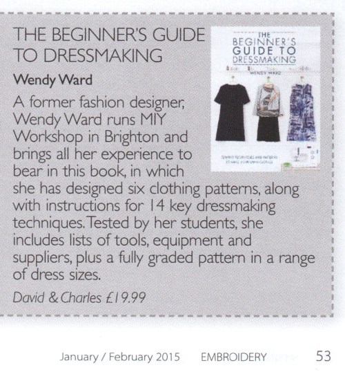 Beginners guide to dressmaking review in Embroidery magazine