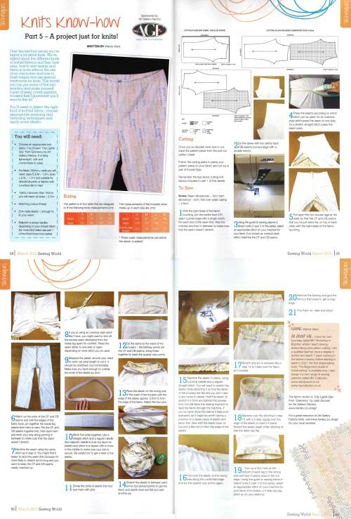 knits know-how sewing with knits sewing world magazine